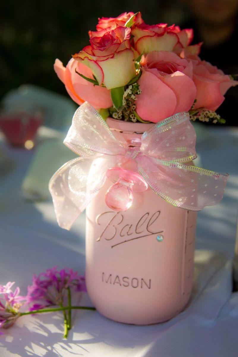 Shabby chic pink Mason jar.