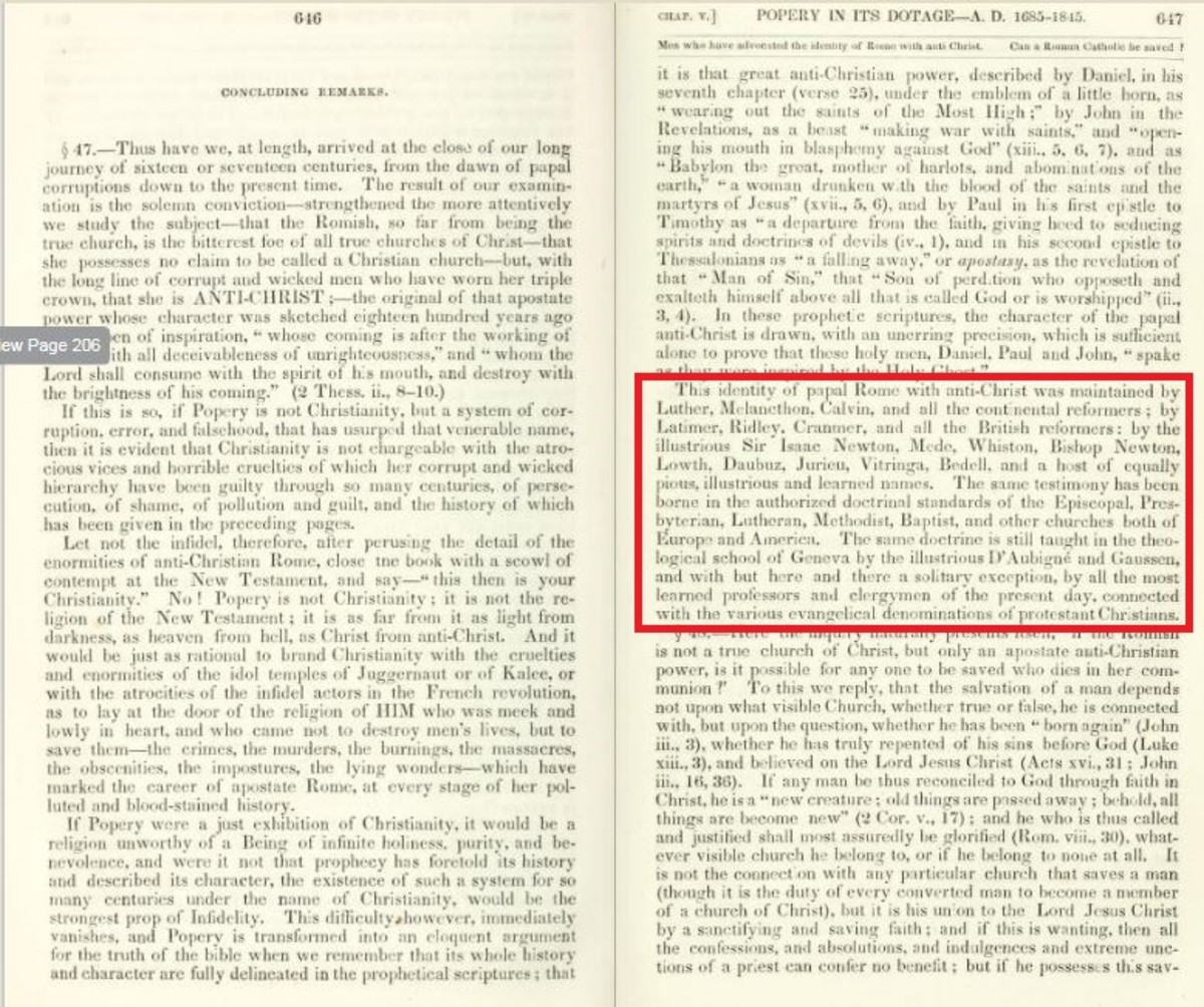 John Dowling, The History of Romanism, 2nd edition, 1852, pp. 646, 47).
