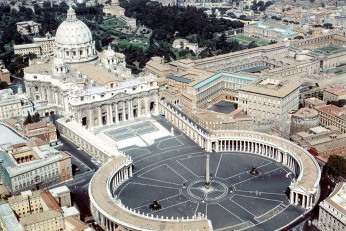 Vatican City, a  Babylonian sun-symbol, an astrological Babylonian-Assyrian and heathen sun-symbol, also in the form of an encircled cross referred to as a 'solar wheel.'