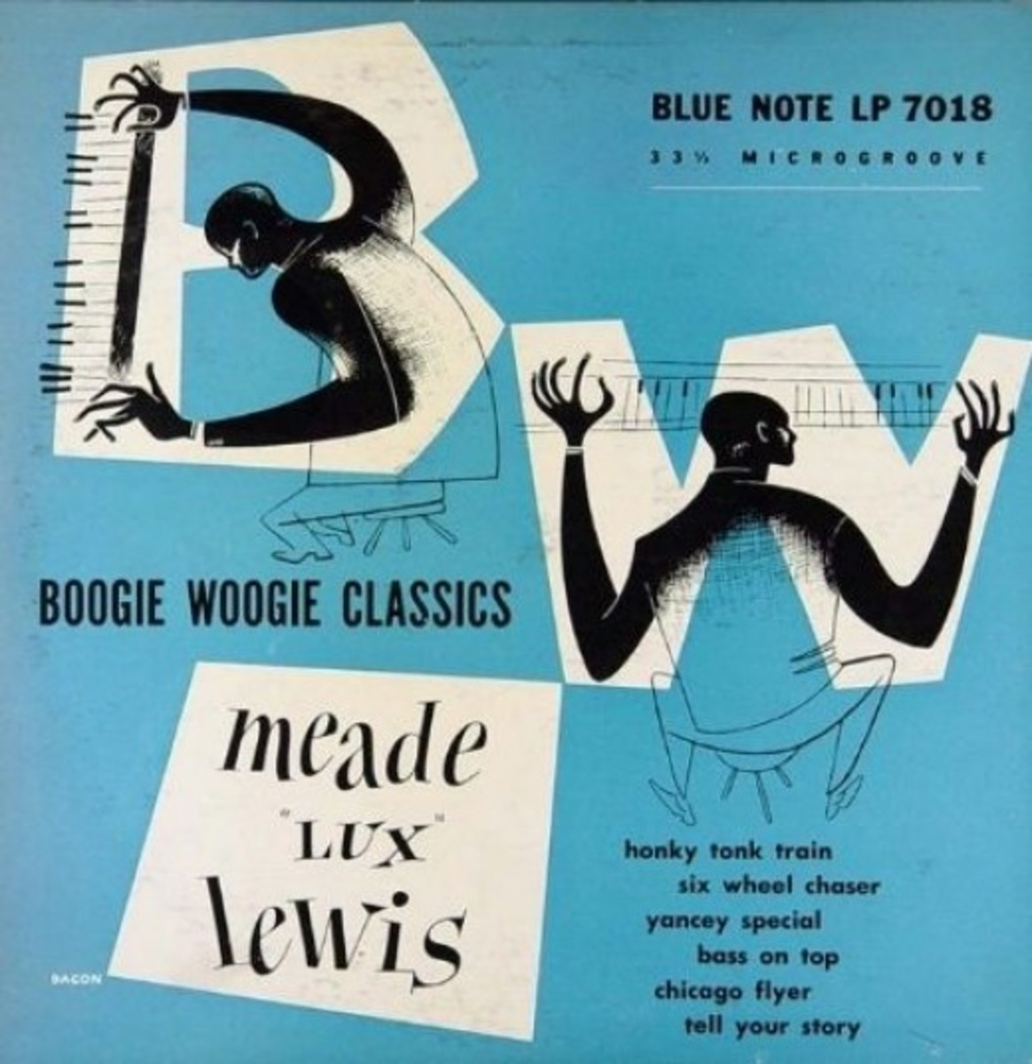 """Meade Lux Lewis """"Boogie Woogie Classics"""" Blue Note Records BLP 7018 10"""" LP Vinyl Microgroove Record (1951) Album Cover Art & Design by Paul Bacon"""