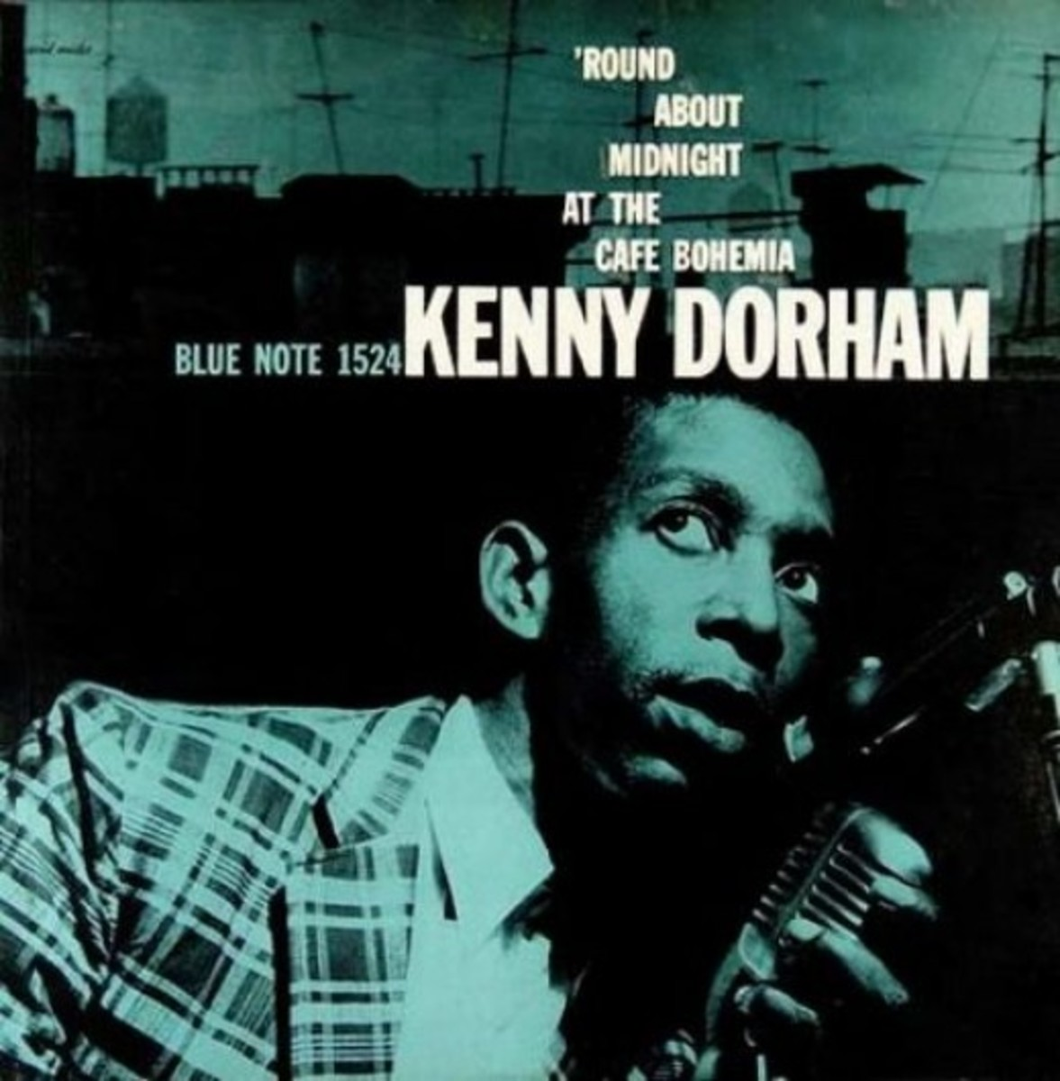 "Kenny Dorham ""Round About Midnight"" Blue Note Records 1524 LP Vinyl Record (1956) Album Cover Art Design by Reid Miles, Photo by Francis Wol"