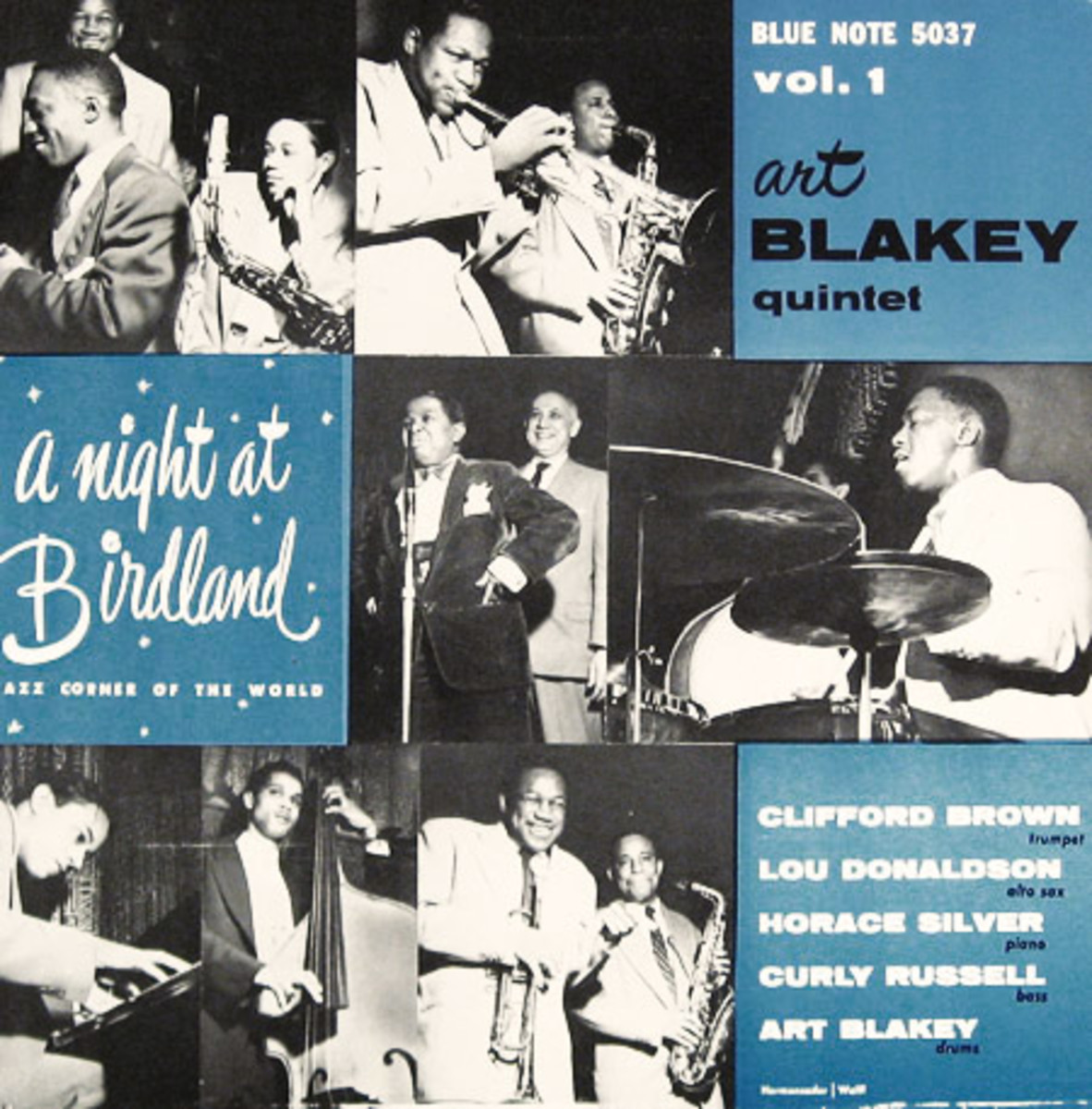 "Art Blakey ""A Night at Birdland, vol. 1"" Blue Note Records 5037 10"" LP Vinyl Microgroove Record (1954) Album Cover Design by John Hermansader, Photos by Francis Wolff"