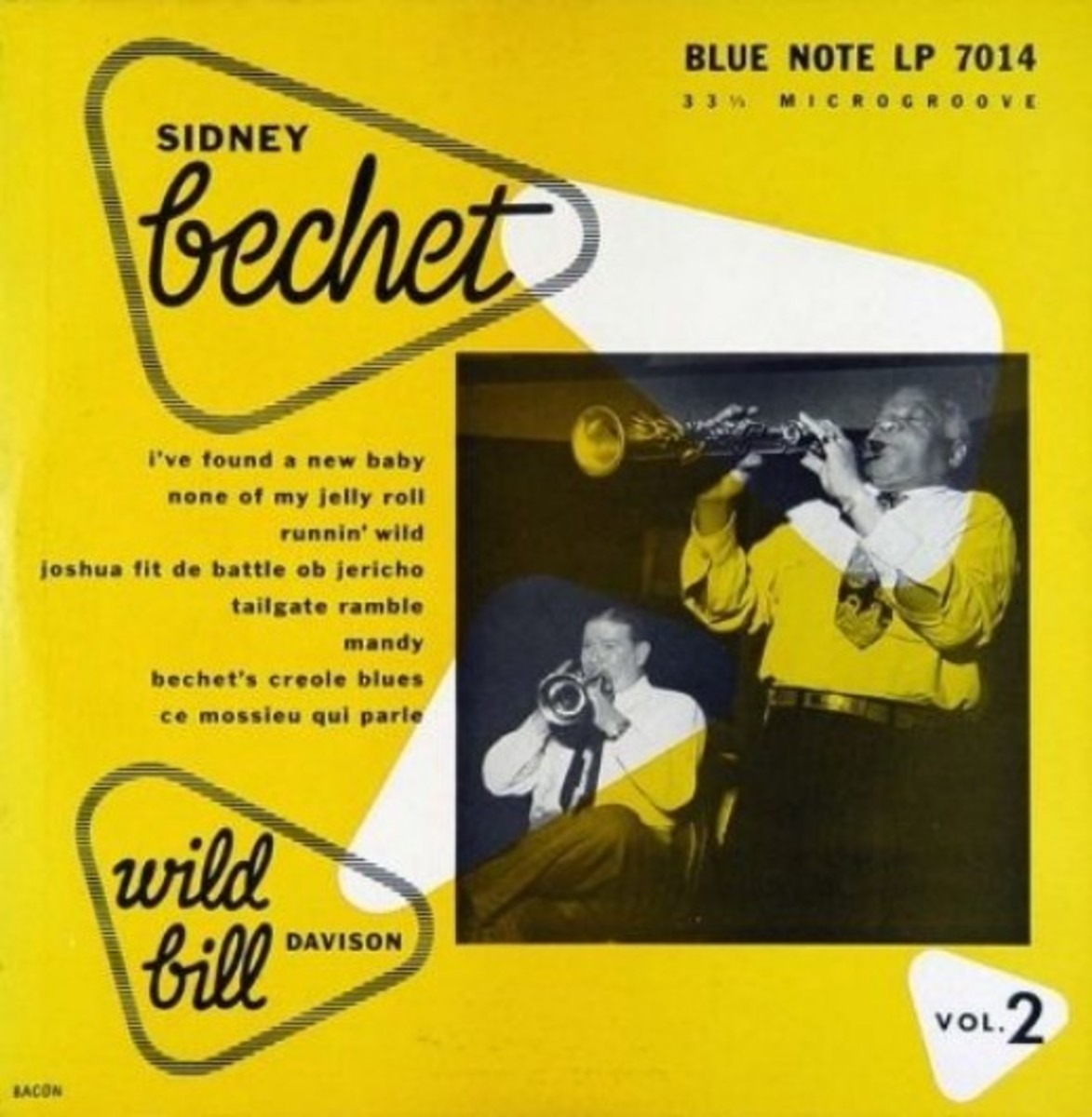 "Sidney Bechet Wild Bill Davison, vol 2 BLP 7014 10"" LP Vinyl Microgroove Record (1951) Album Cover Design by Paul Bacon Photo by Francis Wolff"