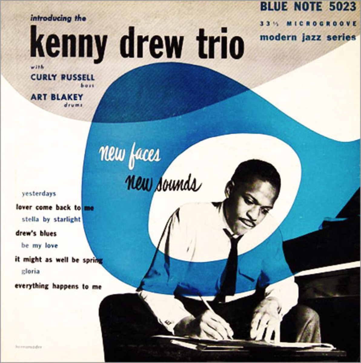 "Introducing The Kenny Drew Trio ""New Faces, New Sounds"" Blue Note Records BLP 5023 10"" LP Vinyl Microgroove Record (1953) Album Cover Design by Photo by"