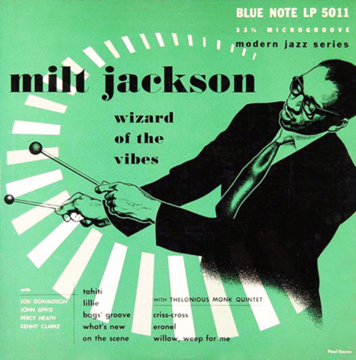 """Milt Jackson """"Wizard of the Vibes"""" Blue Note Records BLP 5011 10"""" LP Vinyl Record (1952) Album Cover Art by Paul Bacon"""