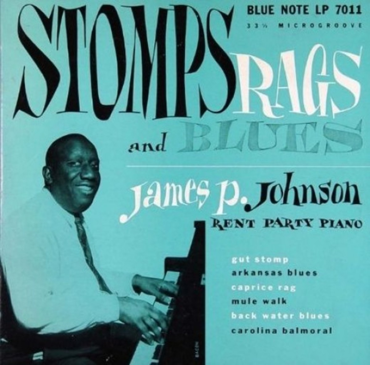 "James P Johnson ""Stomps Rags and Blues Rent Party Piano"" BLP 7011 10"" LP Vinyl Microgroove Record (1951) Album Cover Design by Paul Bacon Photo by Francis Wolff"