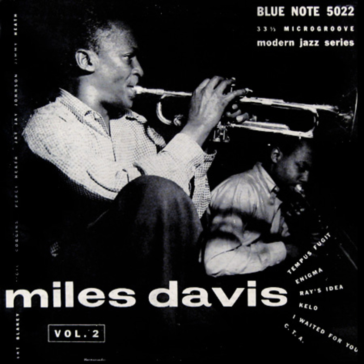 "Miles Davis, vol. 2 Blue Note Records BLP 5022 10"" LP Vinyl Microgroove LP Record (1953) Album Cover Design by John Hermansader, Photo by Francis Wolff"