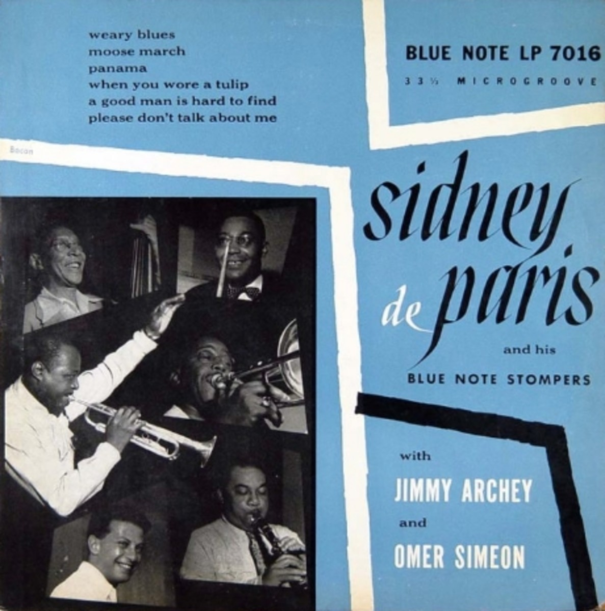 """Sidney de Paris & His Blue Note Stompers Blue Note Records BLP 7016 10"""" LP Vinyl Microgroove Record  (1951) Album Cover Design by Paul Bacon Photo by Francis Wolff (1951)"""