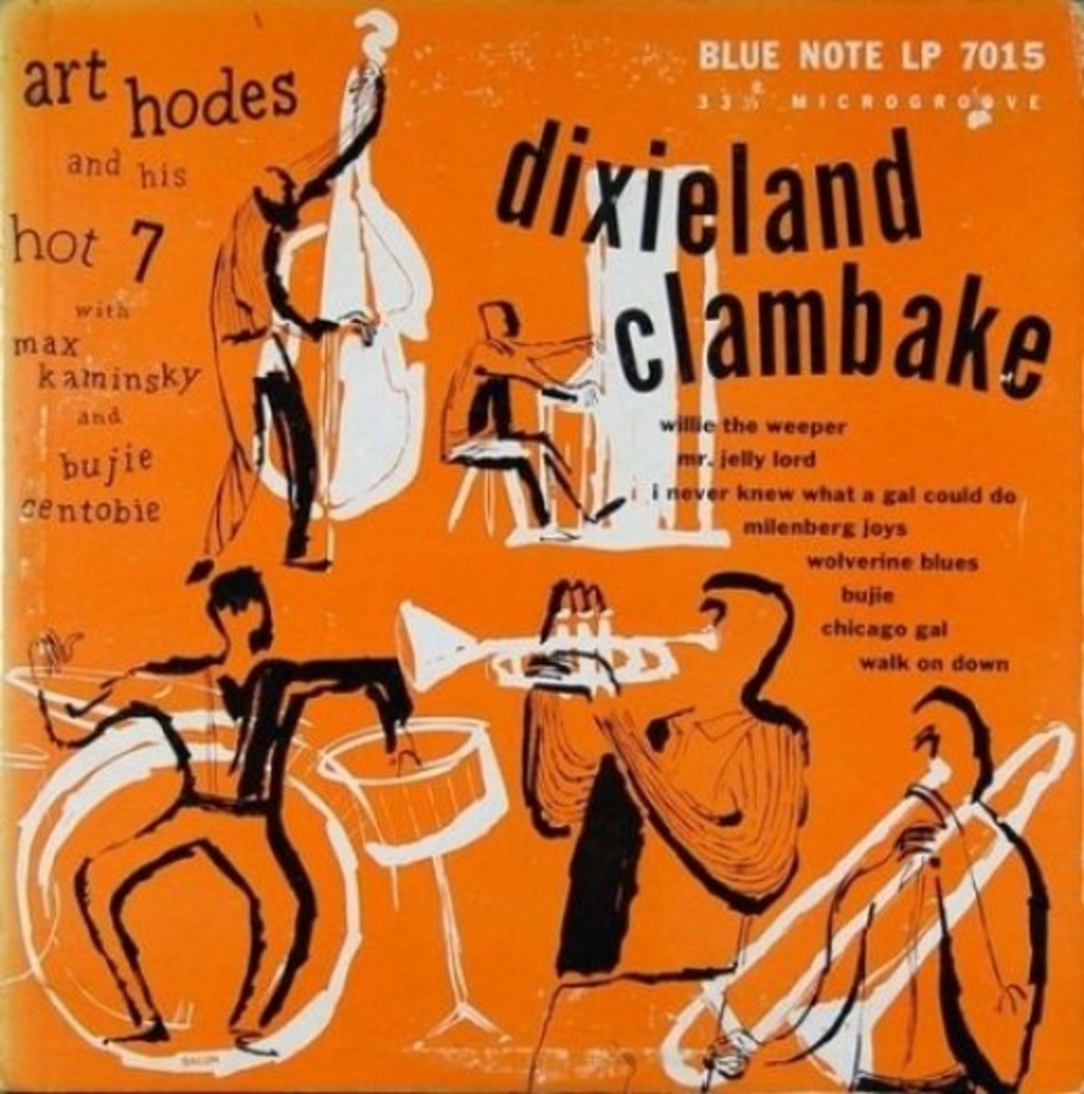 "Art Hodes & His Hot 7 ""Dixieland Clambake"" BLP 7015  10"" LP Vinyl Microgroove Record  (1951) Cover Art & Design by Paul Bacon"