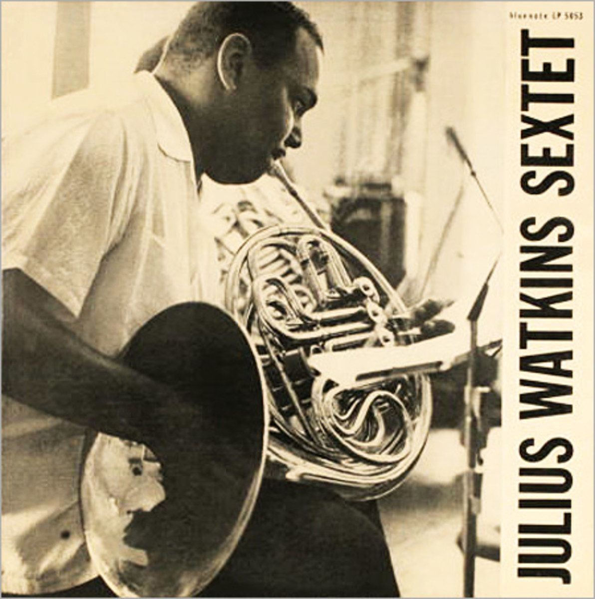 "Julius Watkins ""Julius Watkins Sextet"" Blue Note Records BLP 5053 10"" LP Vinyl Microgroove Record (1955) Album Cover Design and Photo by Bill Hughes"