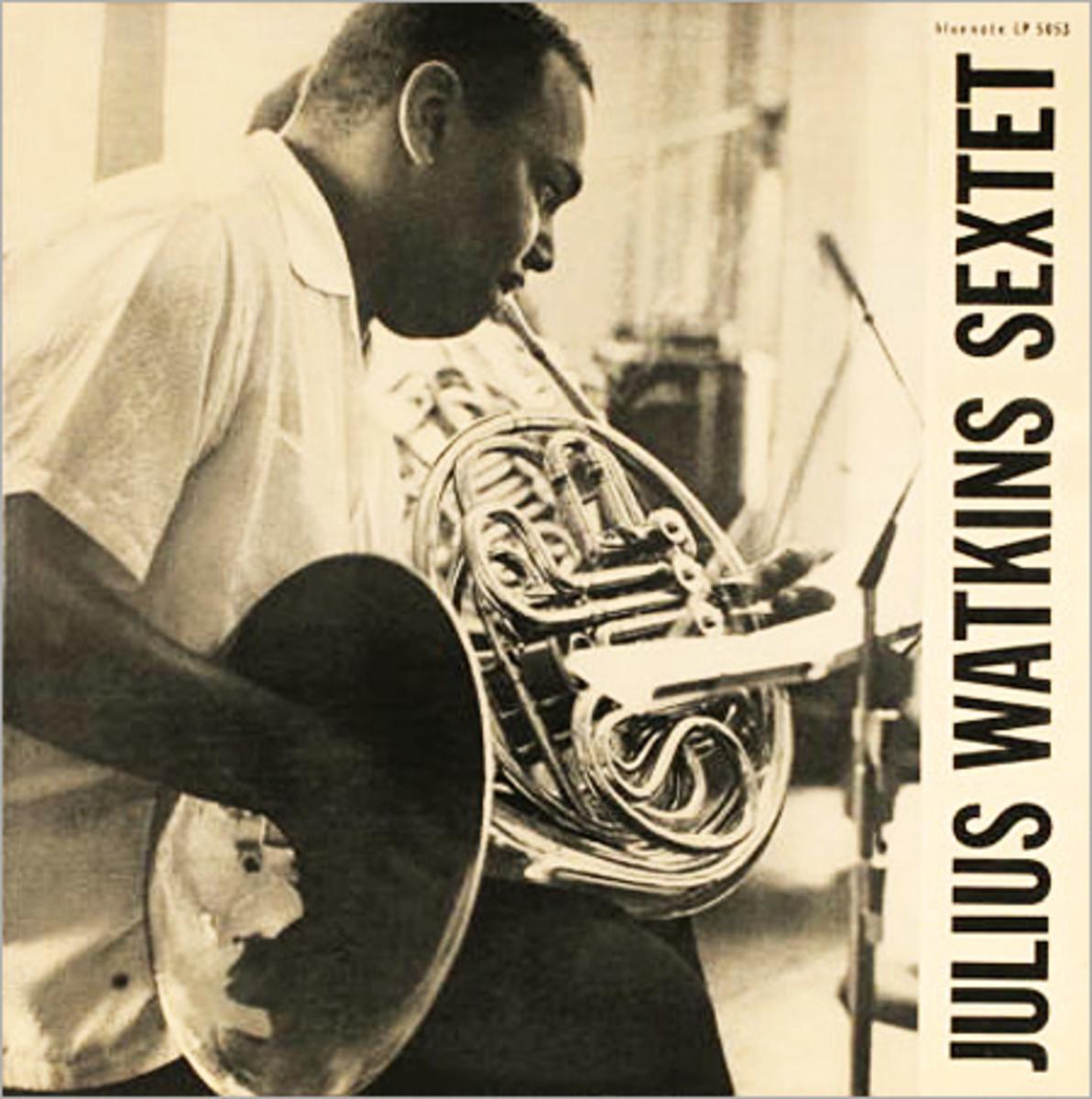 "Julius Watkins ""Julius Watkins Sextet"" Blue Note Records BLP 5053 10"" LP Vinyl Microgroove Record (1955) Album Cover Design and Photo by Bill Hughes"