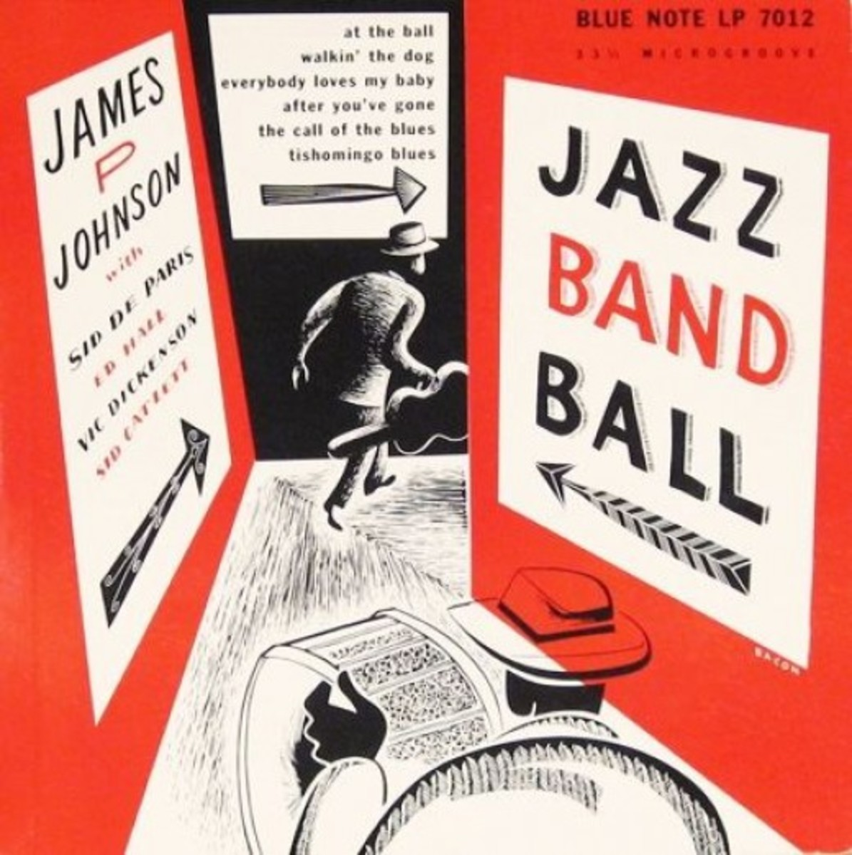 "James P Johnson ""Jazz Band Ball"" Blue Note LP 7012 10"" LP Vinyl Microgroove Record (1951) Album Cover Art & Design by Paul Bacon"