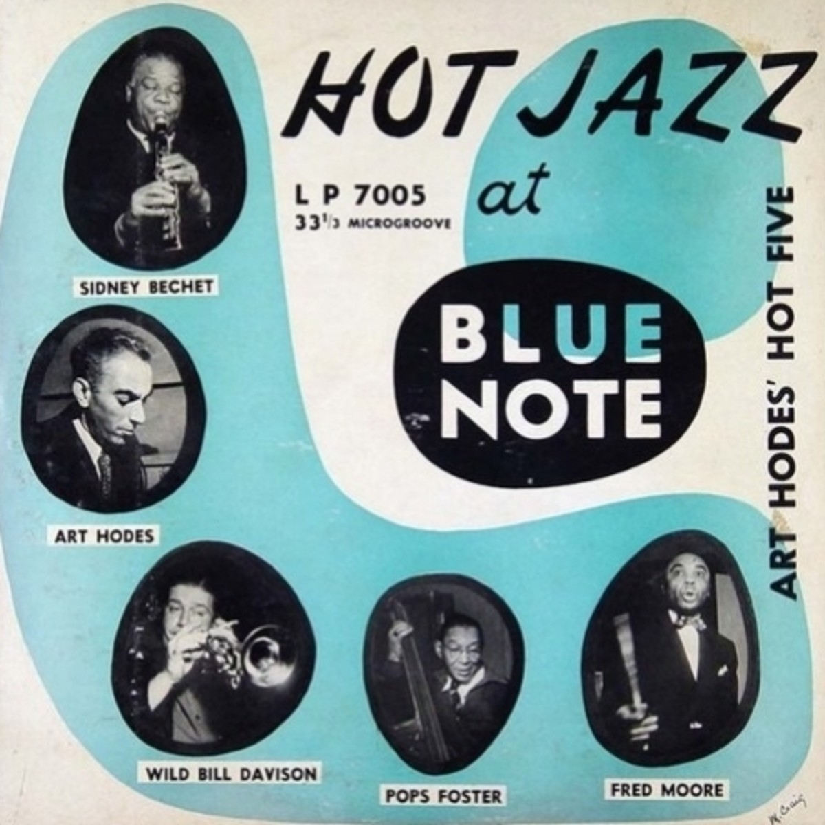 """Art Hodes Hot Five """"Hot Jazz at Blue Note"""" - Blue Note Records BLP 7005 10"""" LP Vinyl Record (1950) Album Cover Design by Paul Bacon Photos by Francis Wolff"""