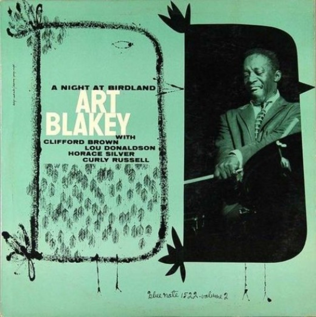 "Art Blakey Quintet ""A Night At Birdland vol. 2"" Blue Note Records BLP 1521 12"" LP Vinyl Record (1954) Album Cover Design by Reid Miles Photo by Francis Wolff"