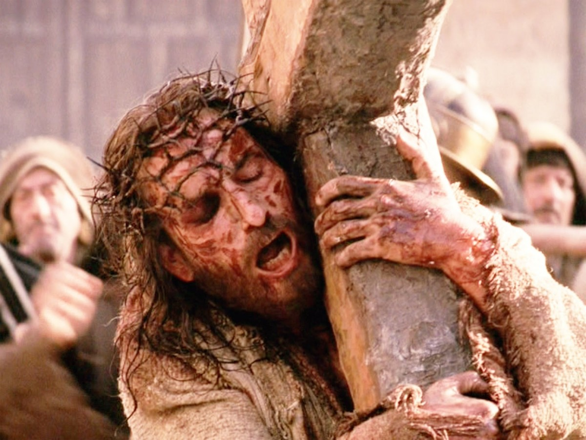 "Scene from Mel Gibson's brilliant movie 'The Passion of the Christ"" with Jim Caviezel as Jesus"