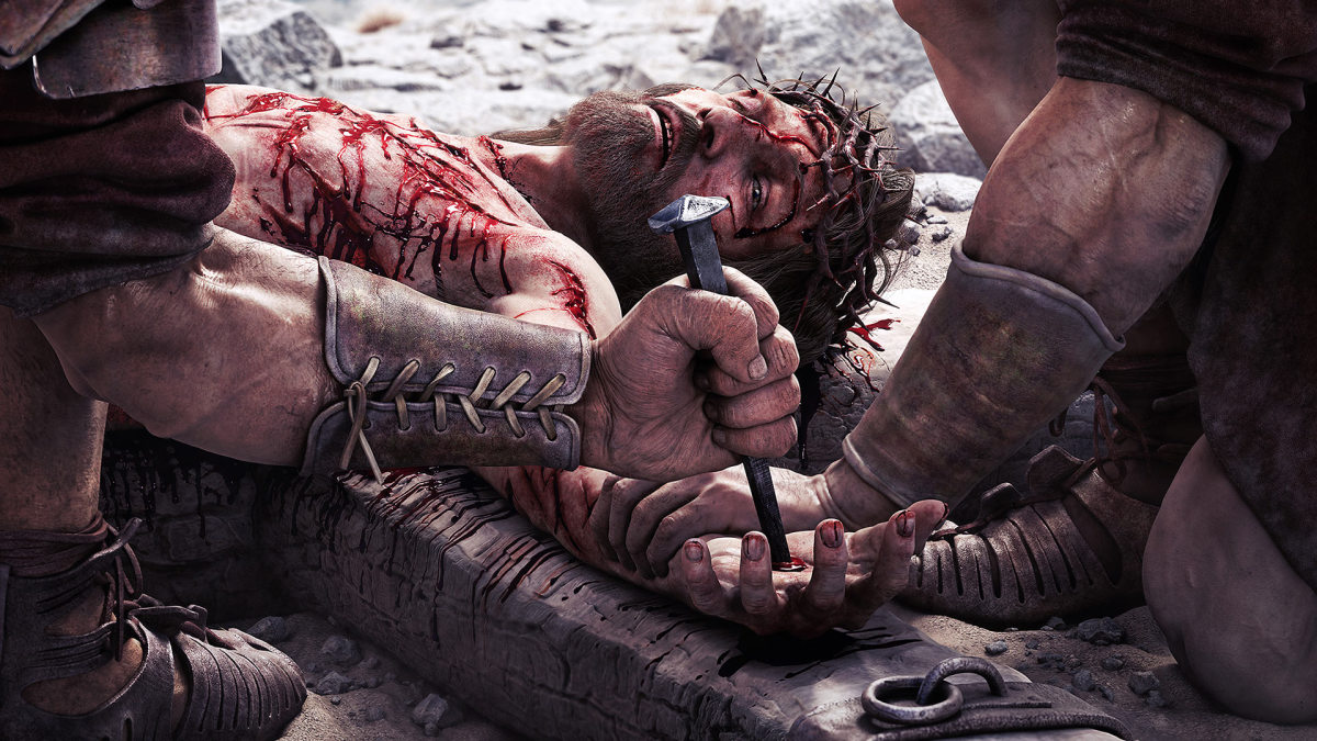 tangda1000's  CG artwork that so realistically depict the pain Jesus Christ went through as nail is driven through his palm