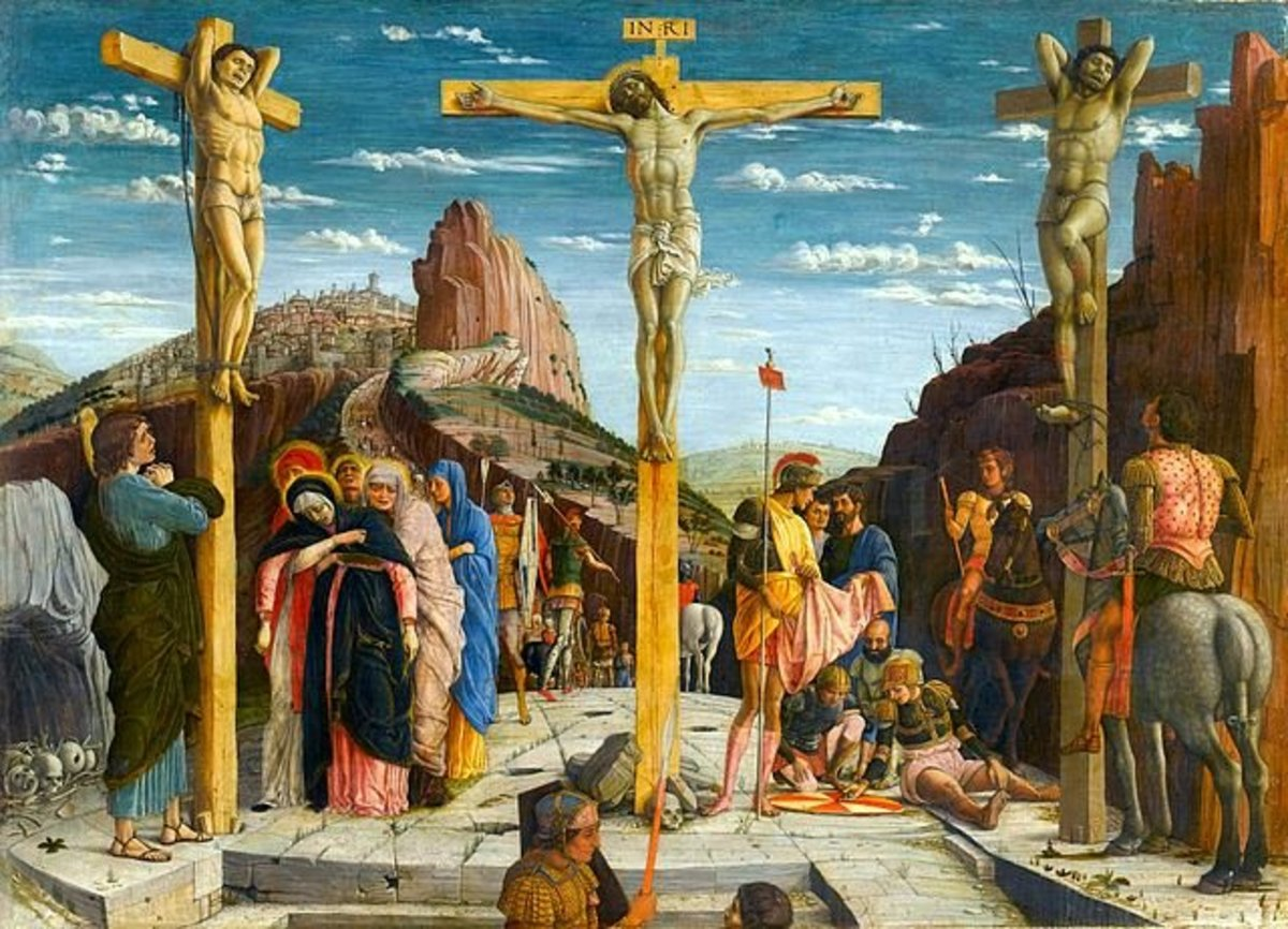 The painting 'Crucifixion' by Andrea Mantegna which is now on display at the Louvre