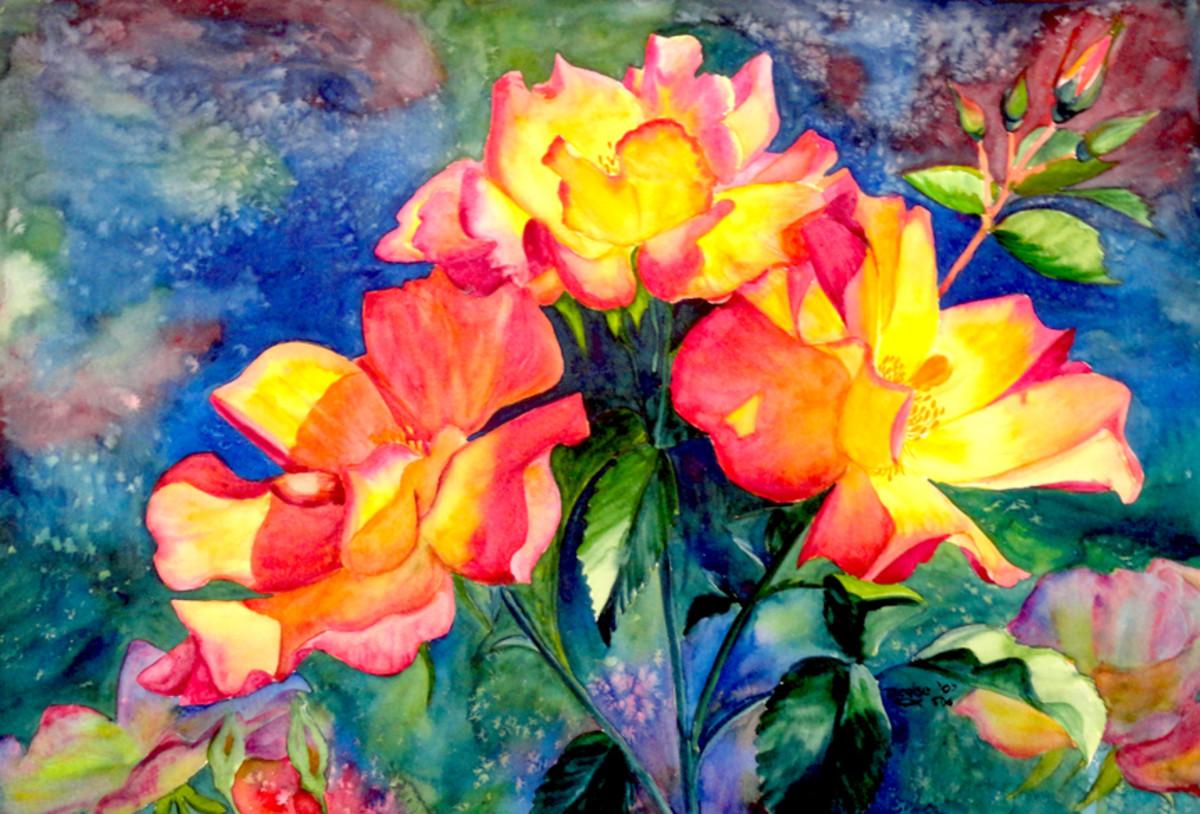 Tea Roses original.  Disastrous background.