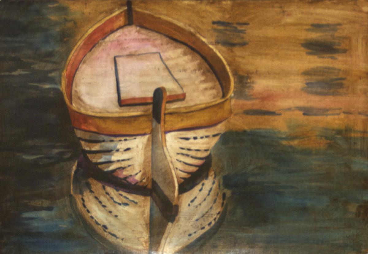 Row Boat painting with oil antiquing wash over it.