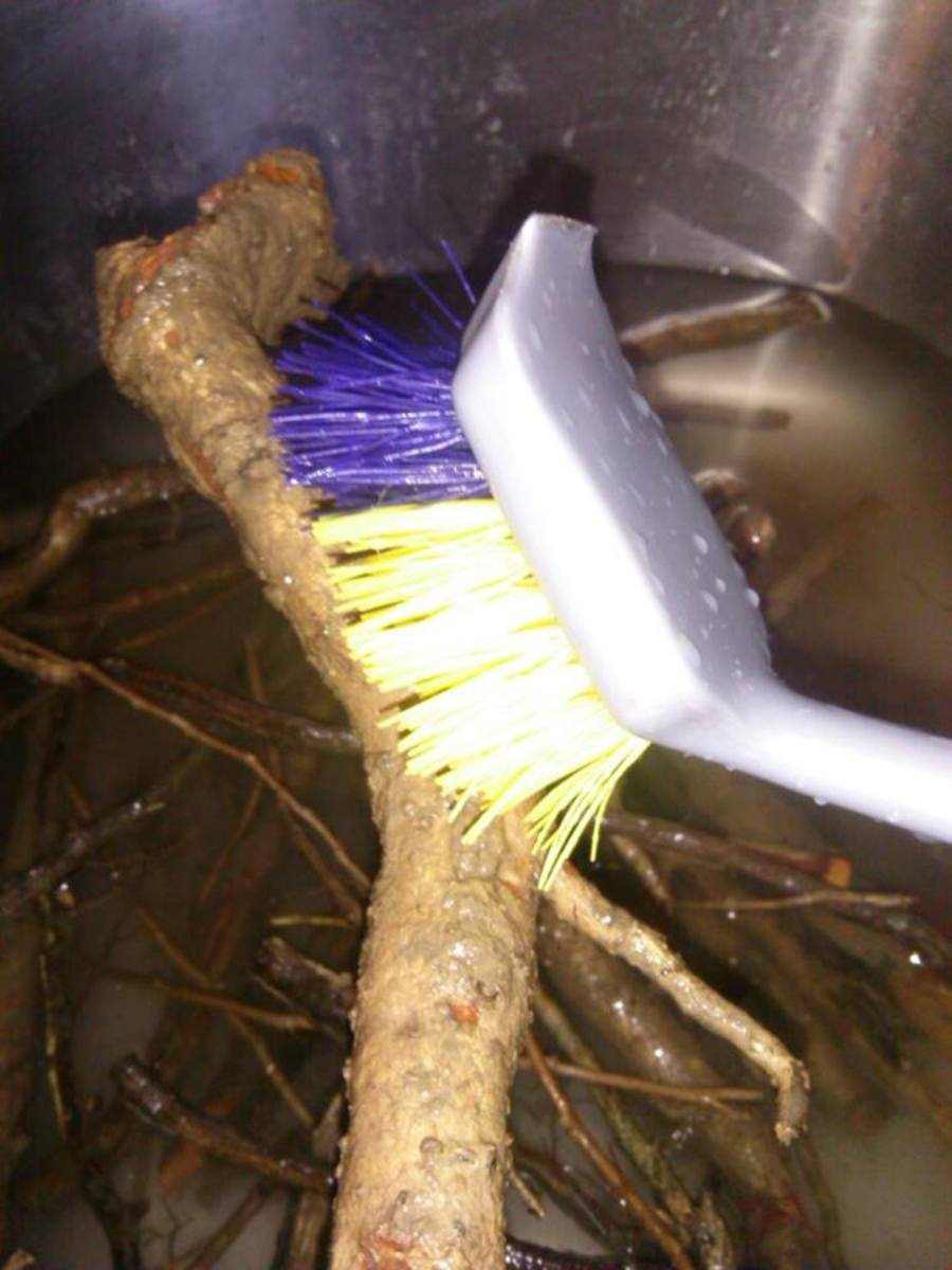 A scrub brush like this one is great, although pretty much any one will do. You want to be able to get in all the crooks and clean out the dirt.