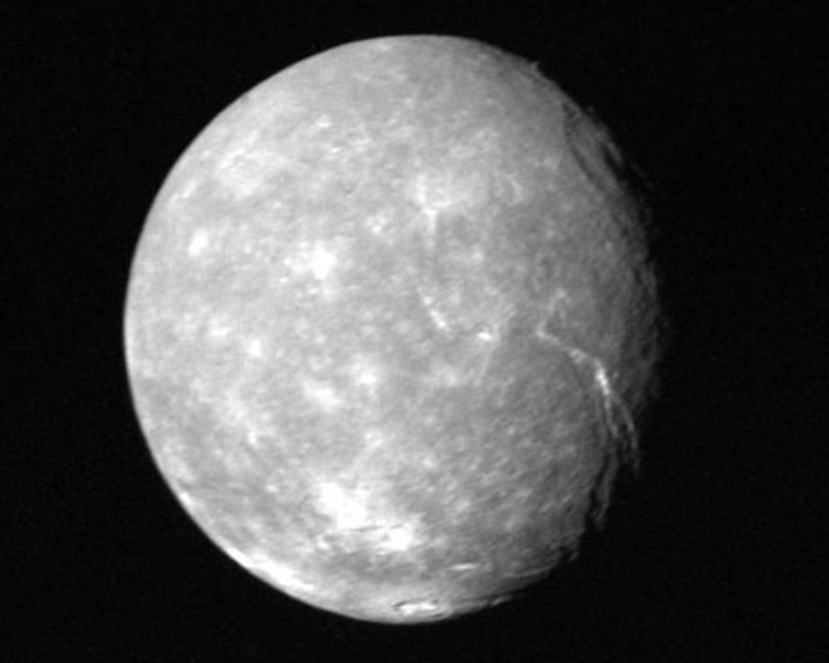 The surface of Uranus's largest moon, Titania, features trough valleys, indicative of geological activity.