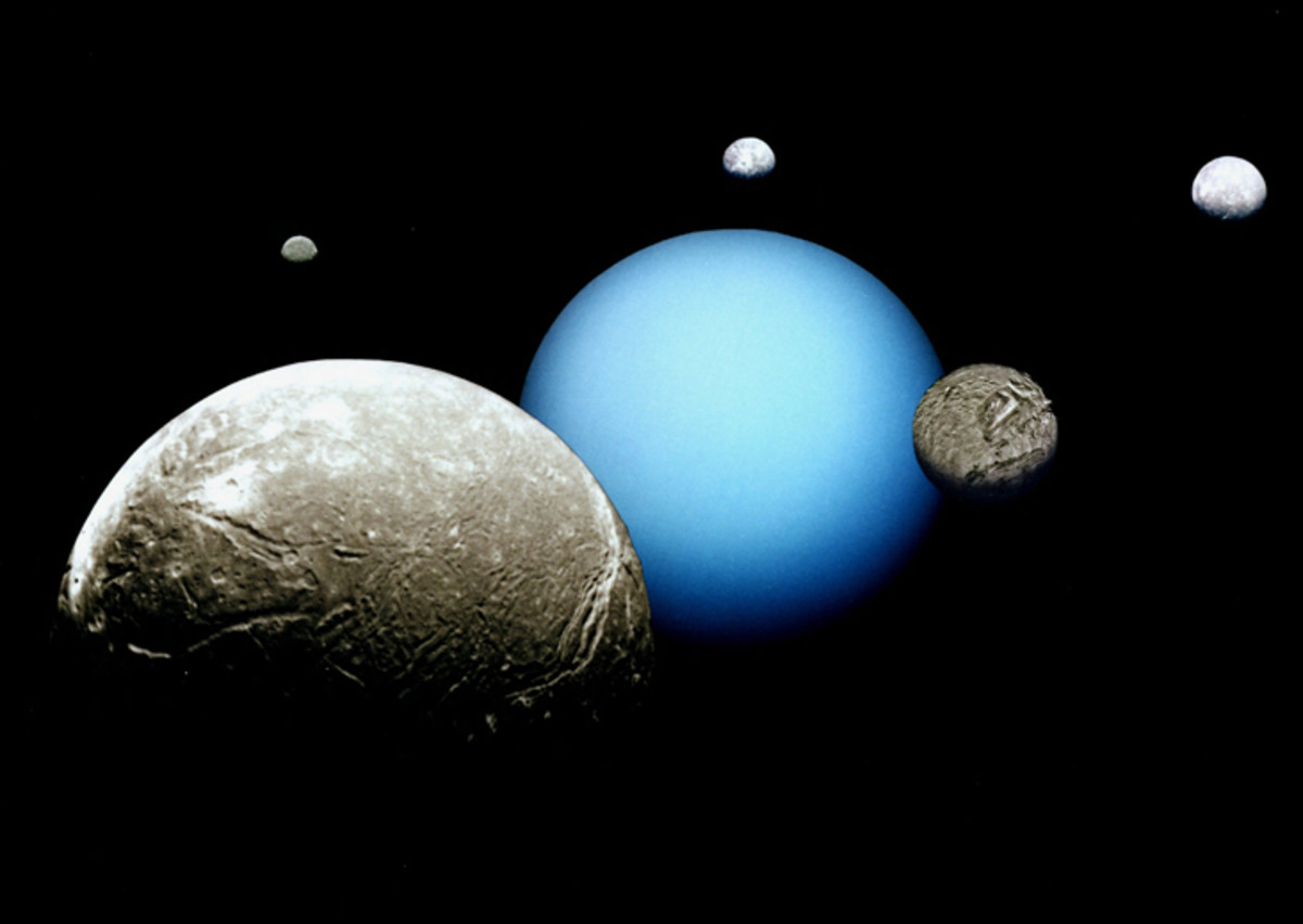 This image shows Uranus with its largest moons Ariel, Miranda, Titania, Oberon and Umbriel.