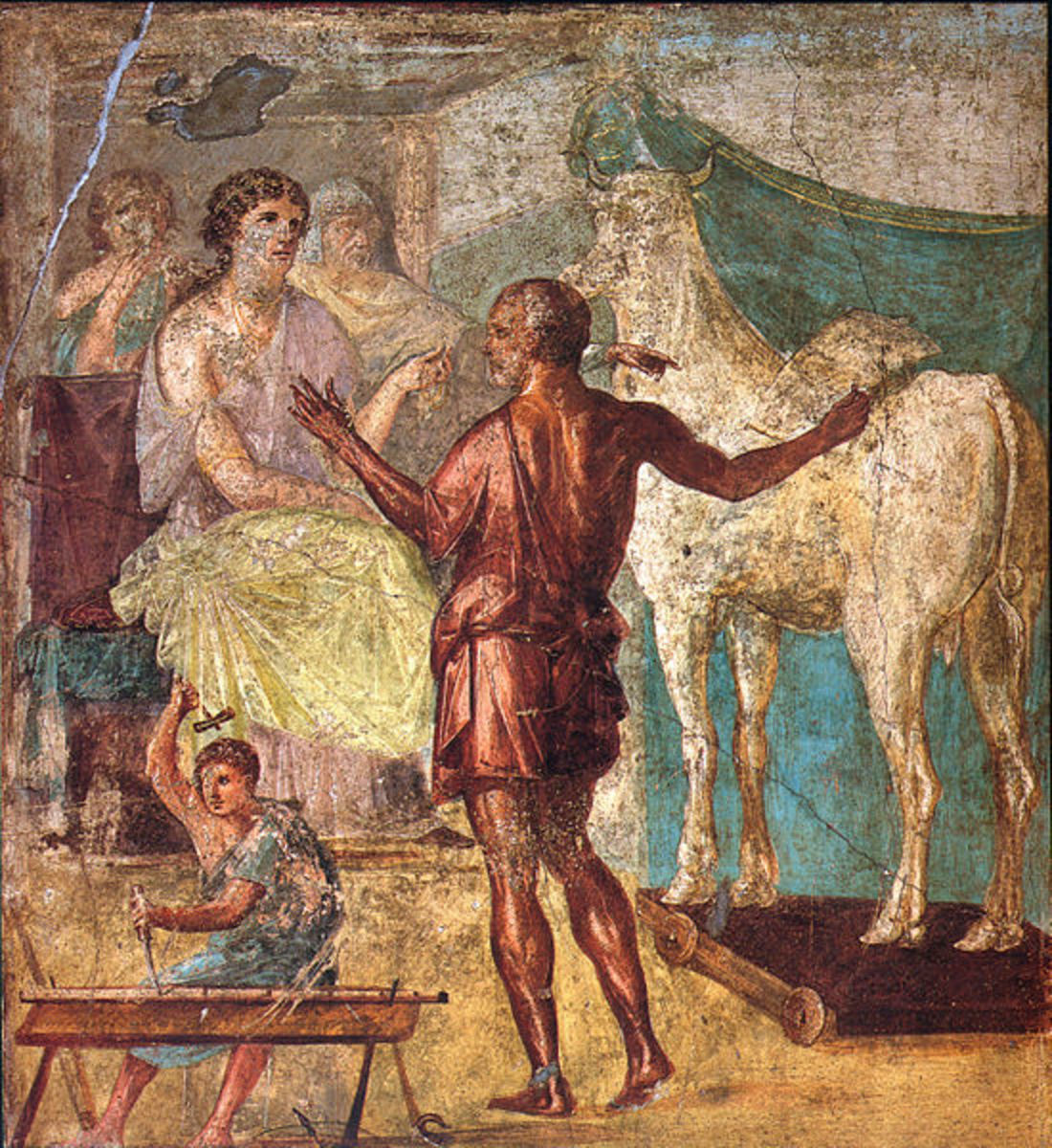 Daedalus, Pasiphae and wooden cow. Roman fresco from the northern wall of the triclinium in the Casa dei Vettii (VI 15,1) in Pompeii. PD-Old