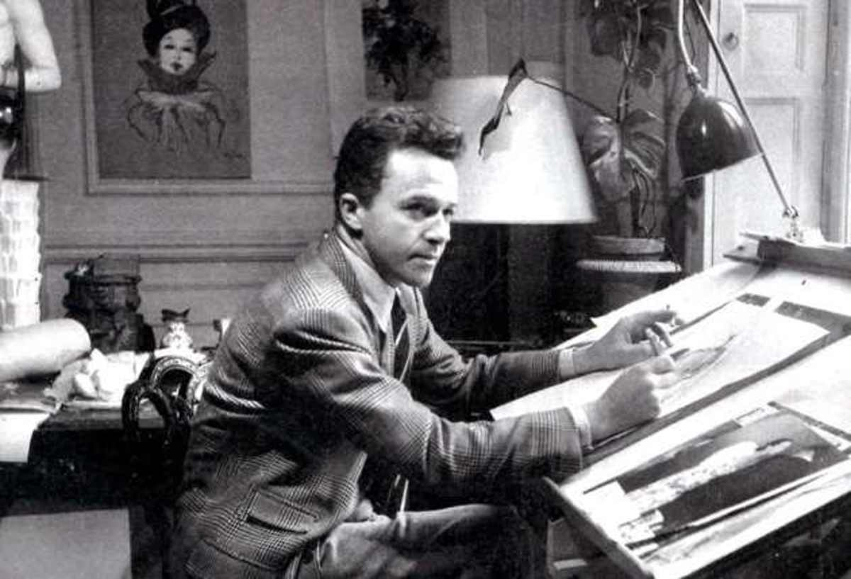 Rene Gruau as a young man working on his illustrations