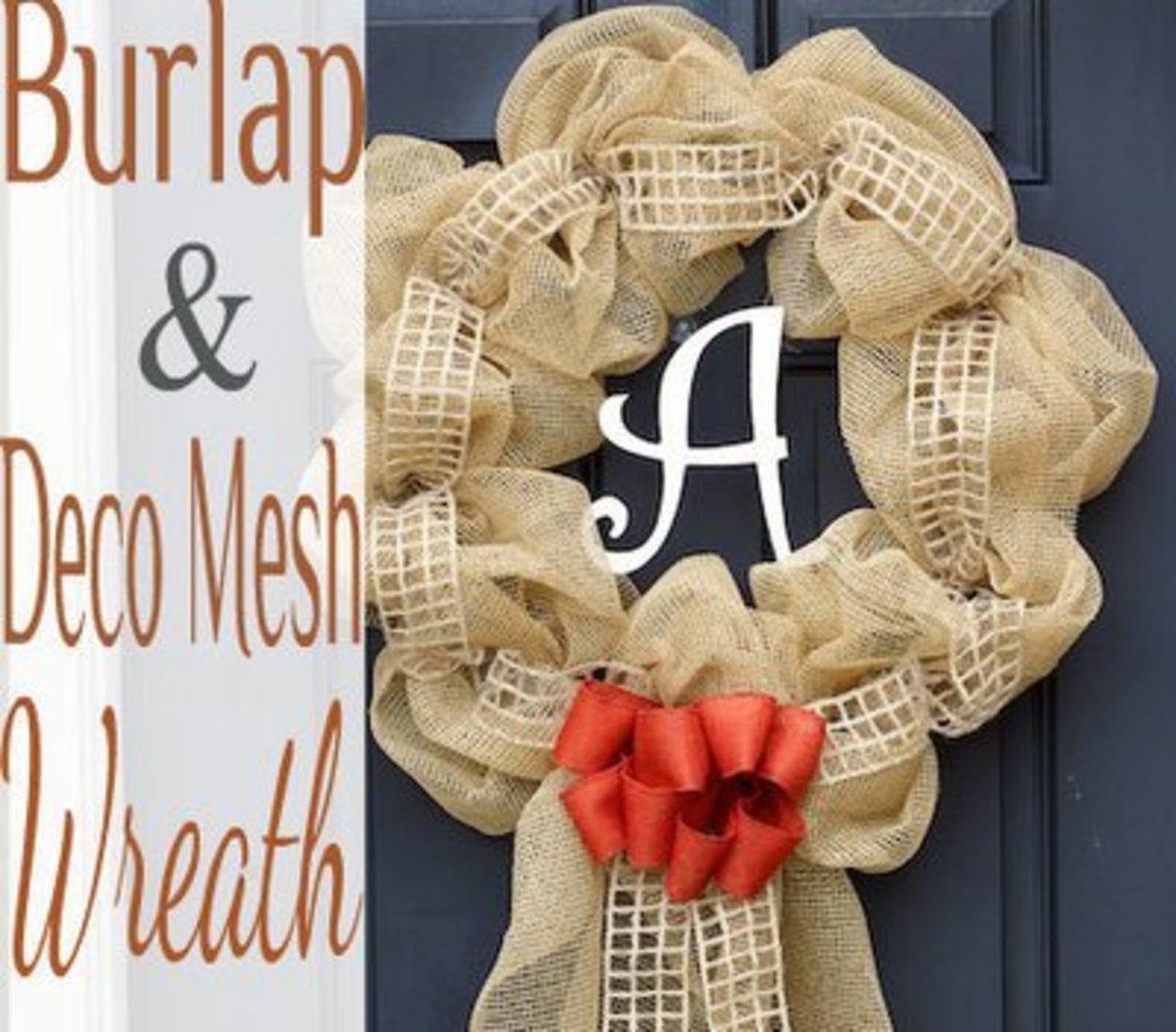 Deco Mesh and Burlap Wreath