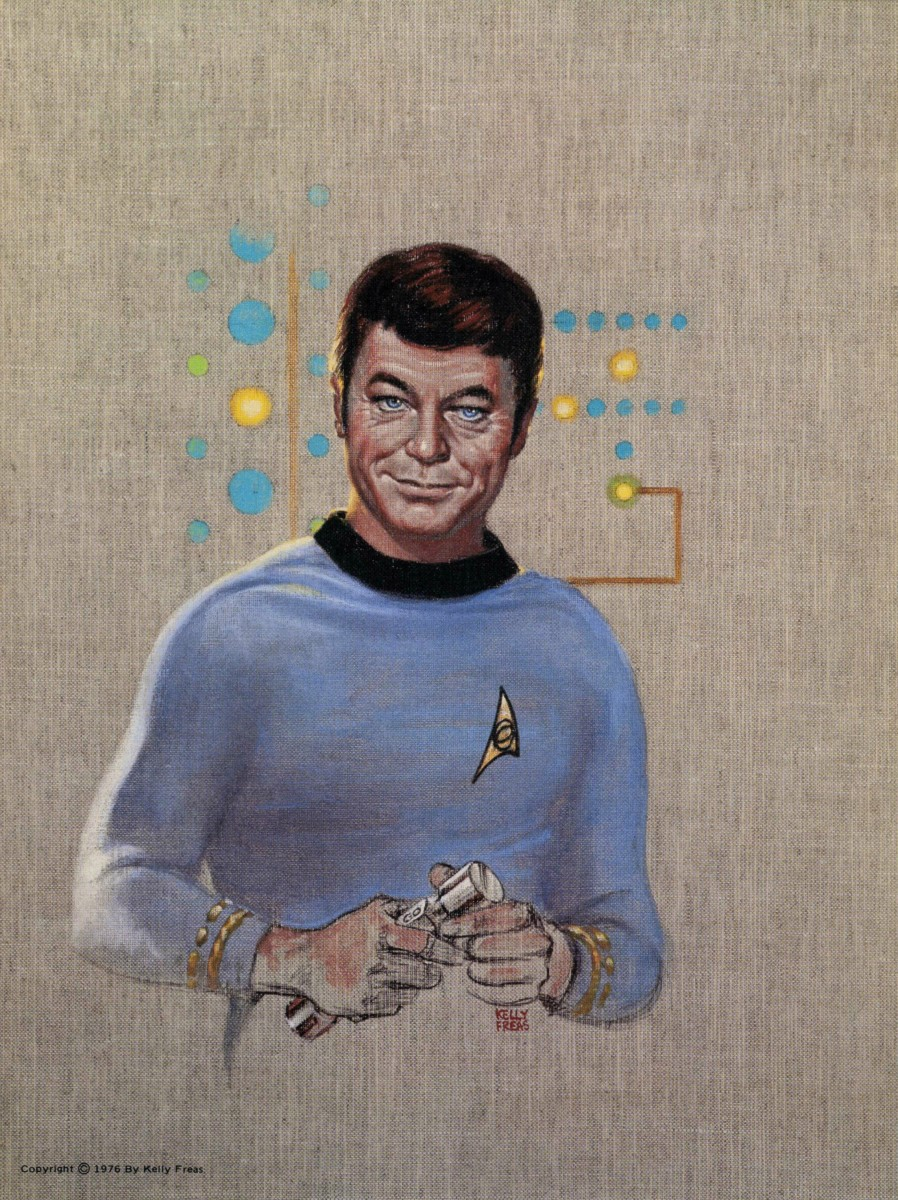 """Here is a wonderful masterpiece by Kelly Freas of Dr. Leonard McCoy, """"Bones""""  done in  the year 1976 for a Star Trek Convention."""