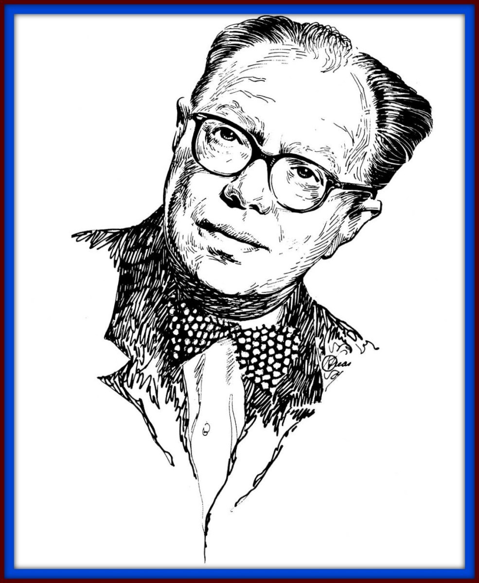 Here is a  portrait drawing of author Hal Clement by Kelly Freas in Pen and Ink. You can see the rich details in this simple work by this great artist.