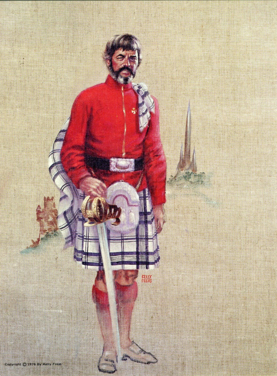"Kelly Freas renditions of Chief Engineer of the Enterprise, Montgomery Scott ""Scotty"" has him in a kilt and Scottish dress."