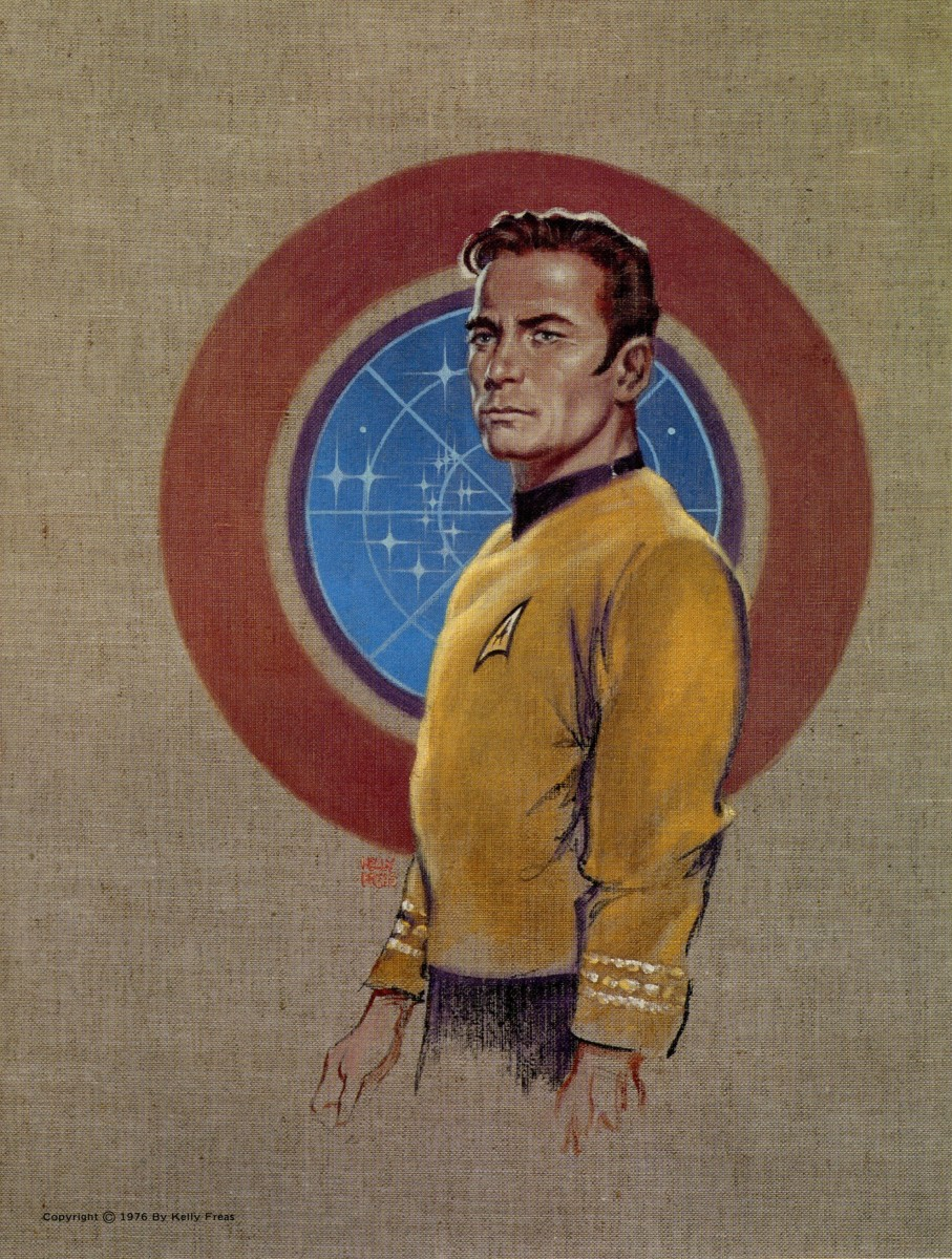 This is a great artistic rendering of Captain James T. Kirk, by Kelly Freas it was made in the year 1976 for a Star Trek Convention.