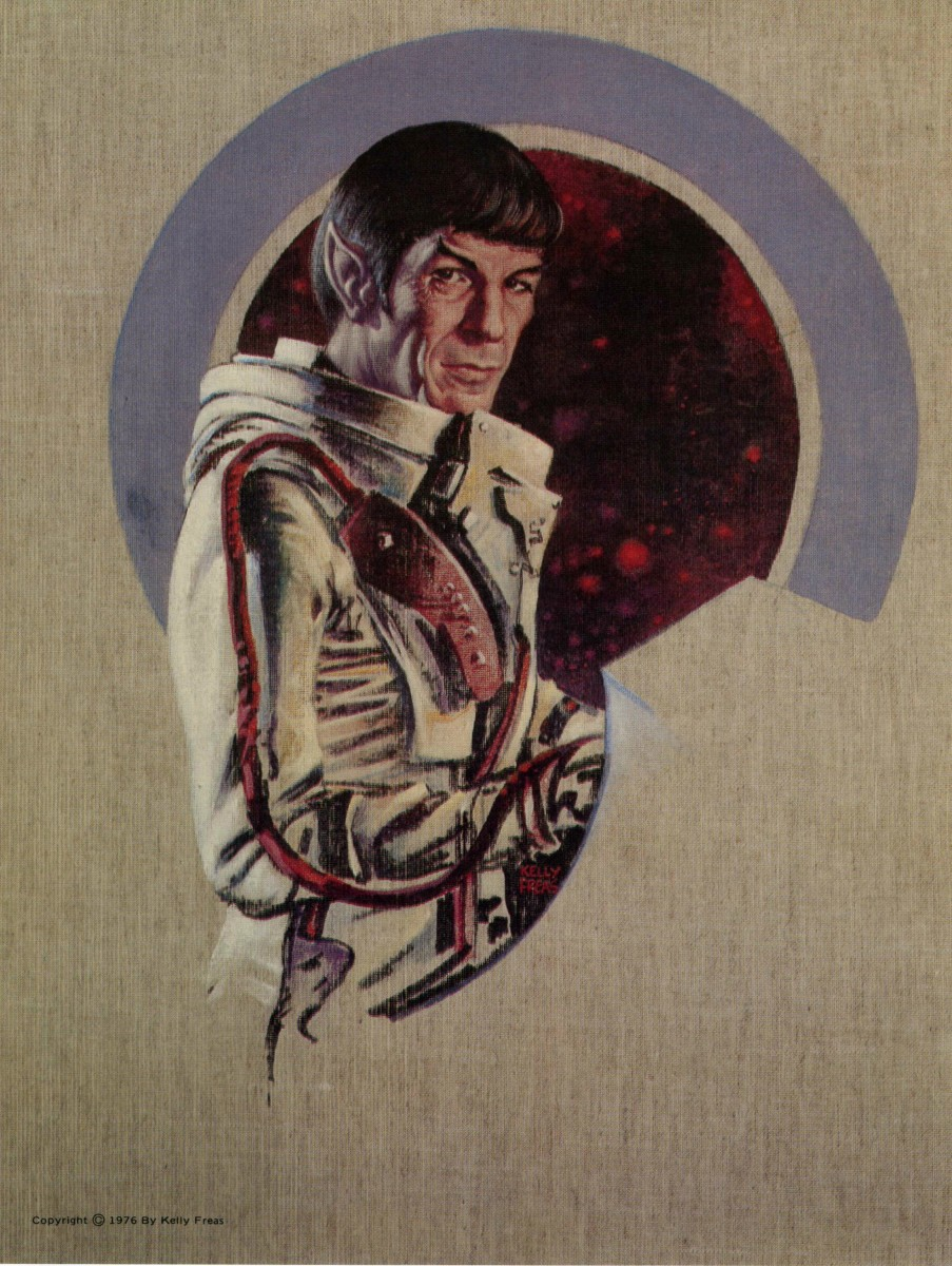 In this beautiful piece of art  Kelly Freas captures the image of Mr. Spock, the Science Officer of the Star Ship Enterprise