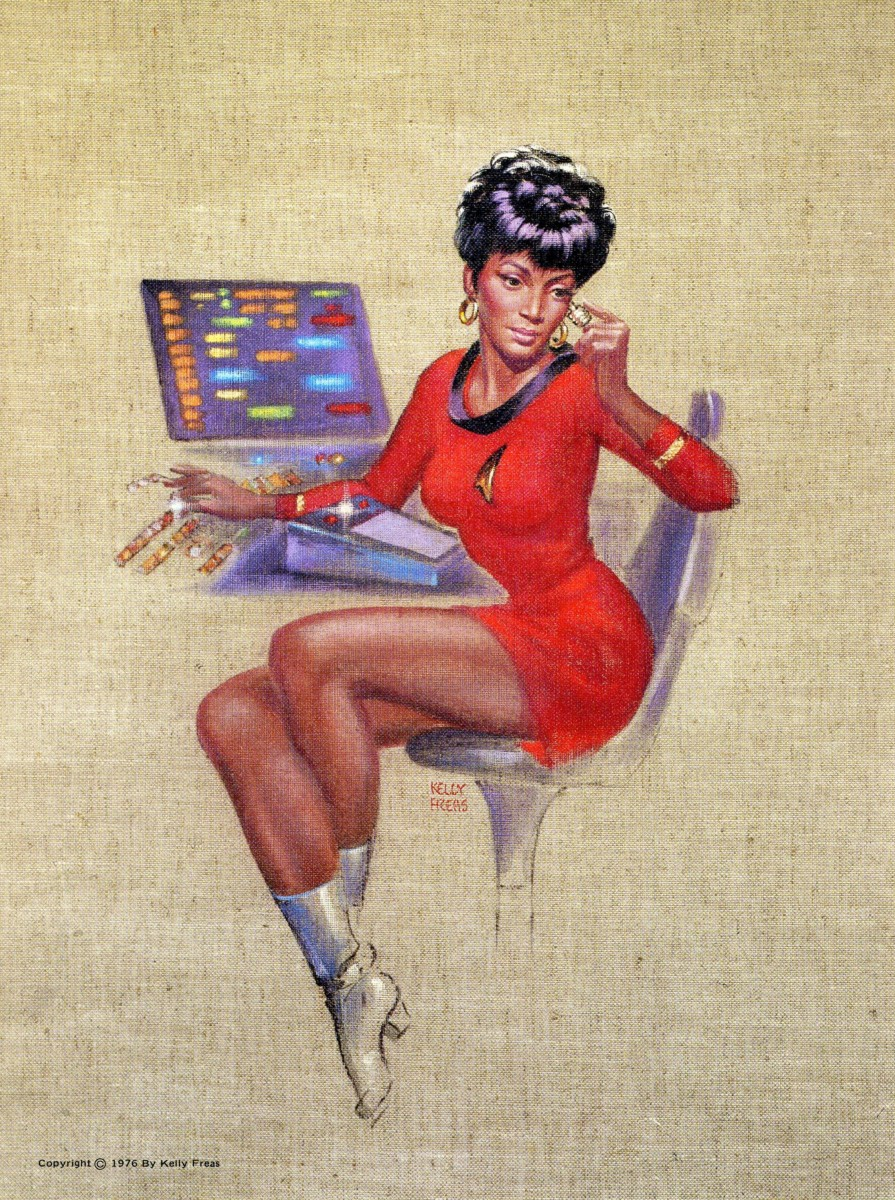 Here is a beautiful rendering of Nyota Uhura the Communitarian Office of the Star Ship Enterprise by Kelly Freas.