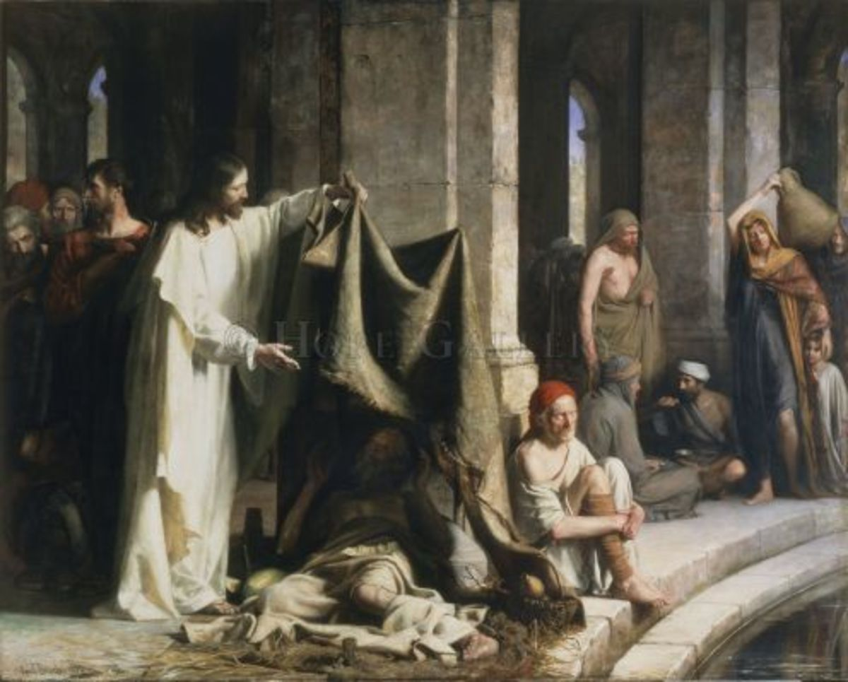 "Bloch's ""Christ Healing at the Pool of Bethesda"" now permanently resides in BYU's Museum of Art in Provo Utah."