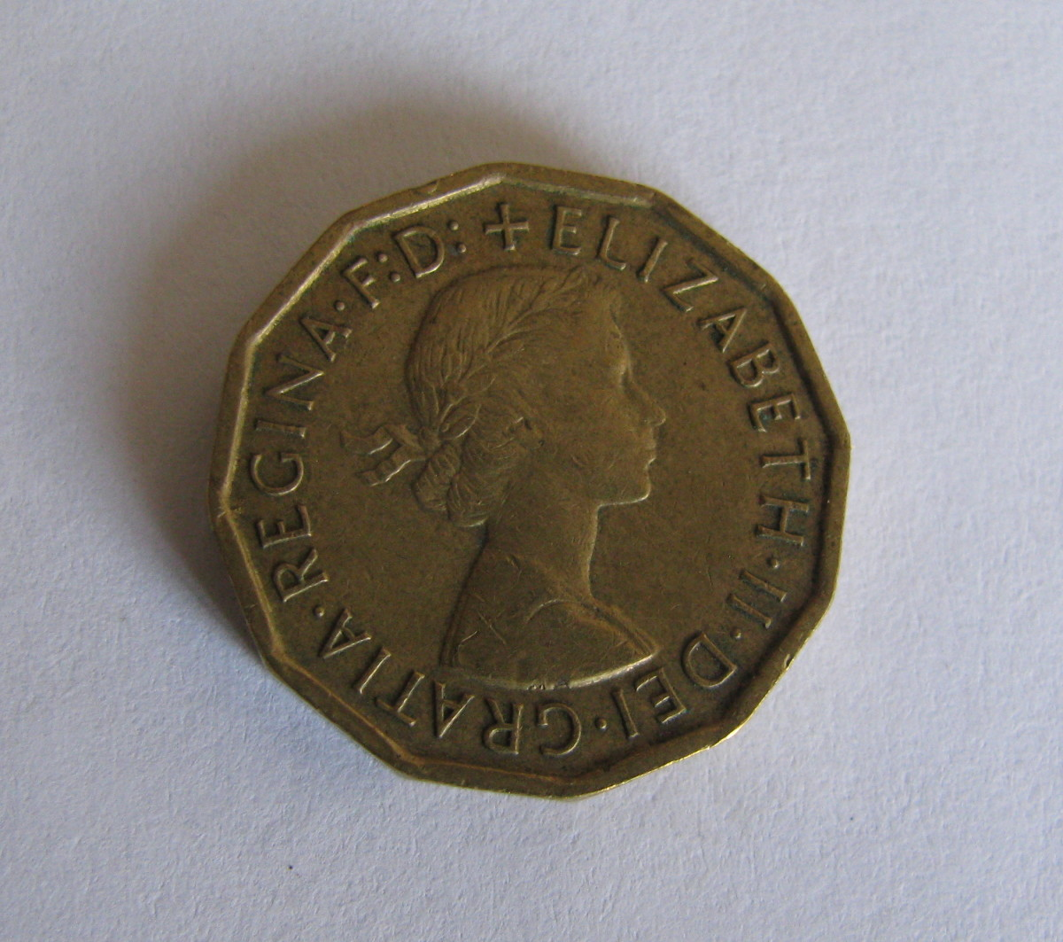 Three pence piece with a younger Queen Elizabeth II