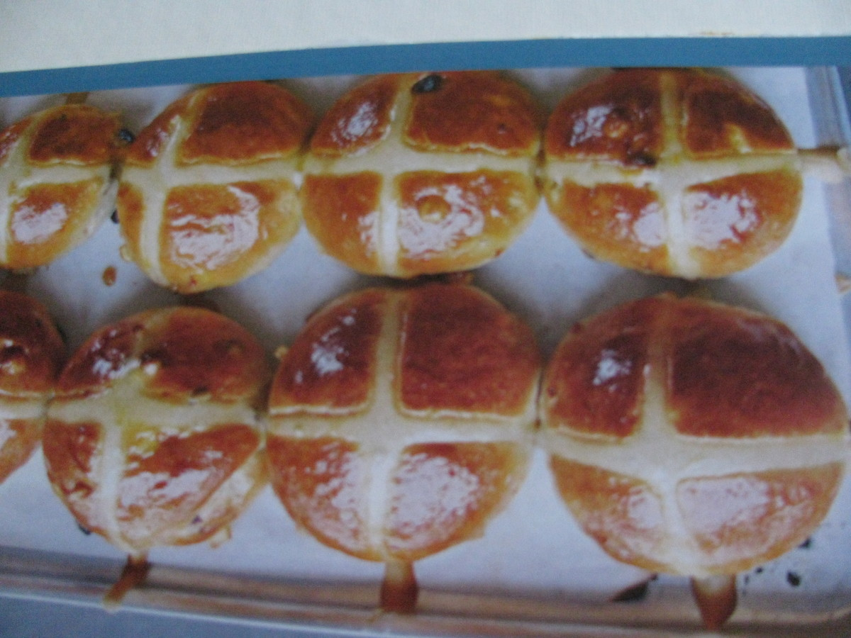 Glazed hot cross buns for Good Friday, flavoured with sultanas & cinnamon and crossed with pastry.