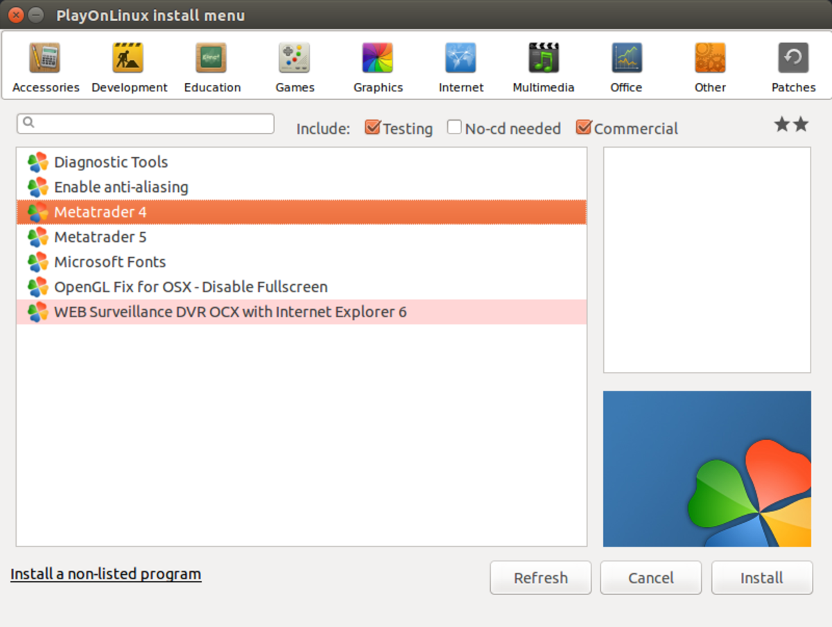 Select Metatrader 4 in the Other section