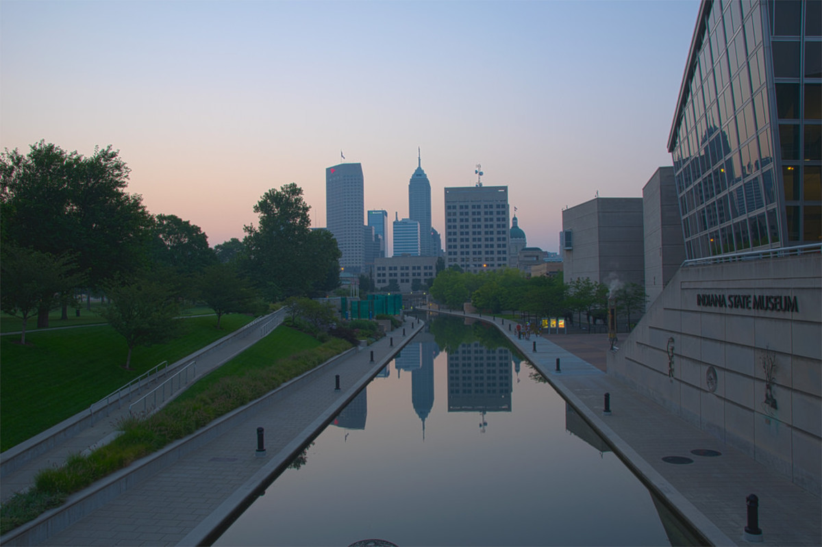 Early morning shot of the canal from the Blackford St. Bridge near the Indiana State Museum.