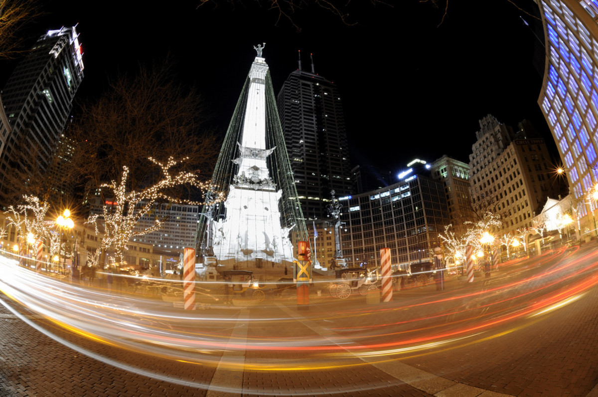 The Soldiers and Sailors monument in Monument Circle, photographed during the holiday season with a fish eye lens.