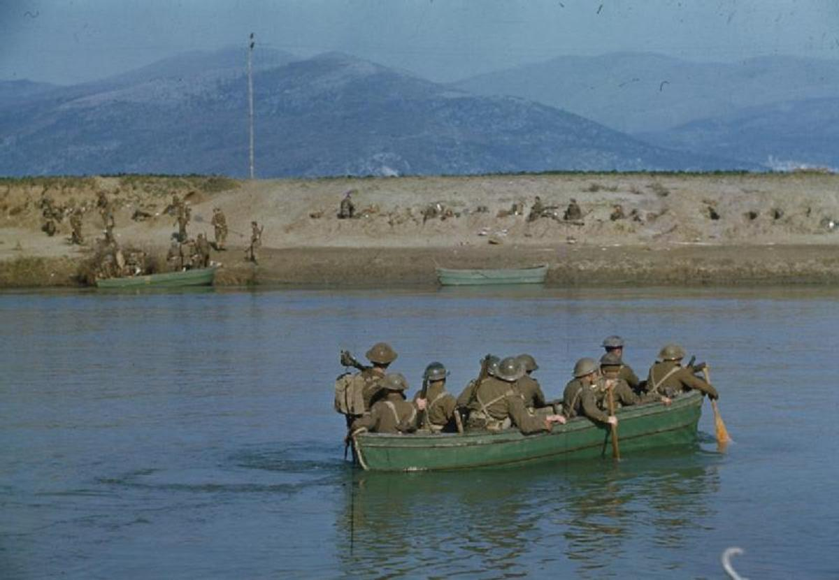 Royal Engineers cross the River Garigliano in the early stages of the First Battle
