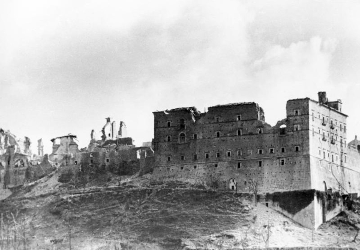 The ruined abbey after the bombers had gone over, providing ample propaganda for the Nazis
