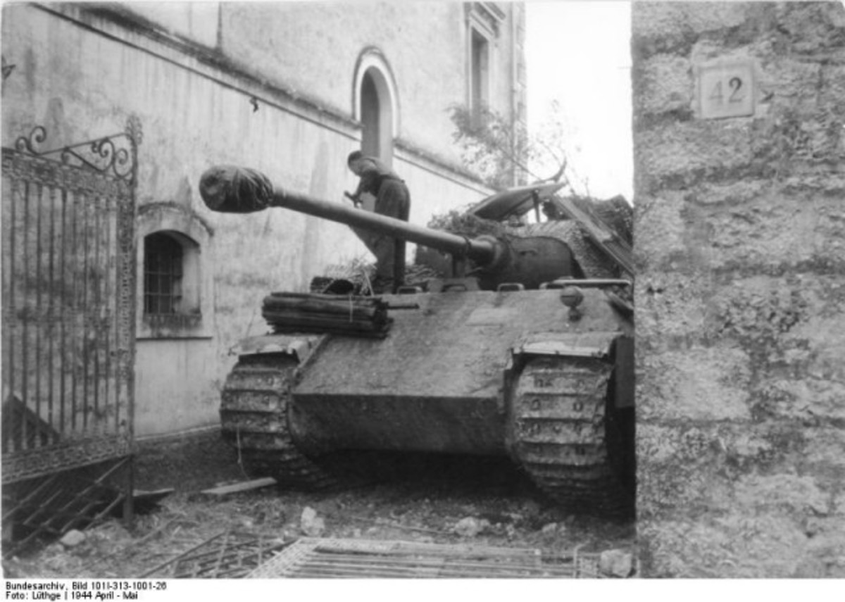 German Panzer V awaits action in Cassino - the Germans held the town near the foot of the monastery hill