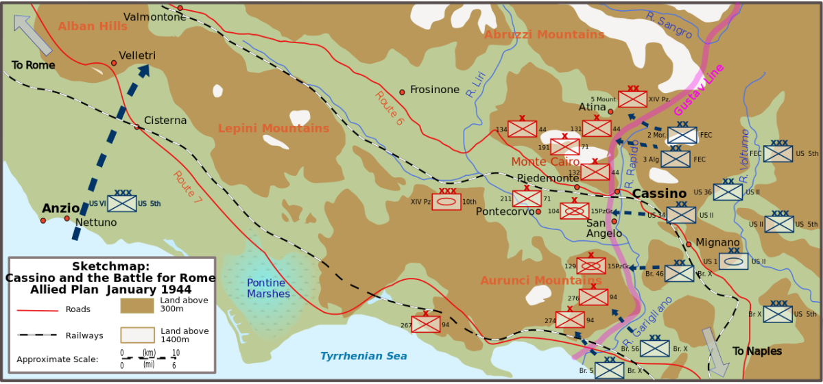 The campaign to crack Kesselring's Gustav Line - the western end of his Winter Line across the Appennine mountains. The worst time of year to tackle the terrain, it had to be undertaken nevertheless