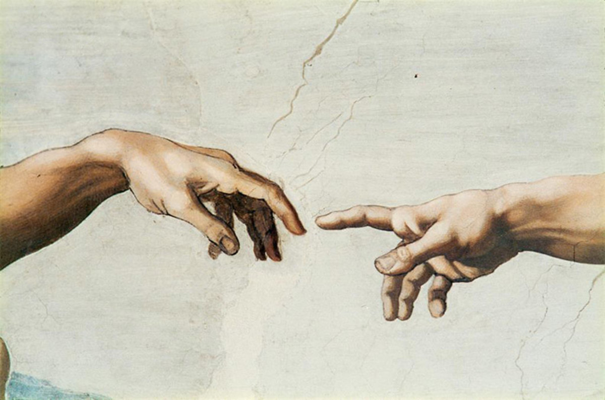 detail of Creation, the finger of God and Adam