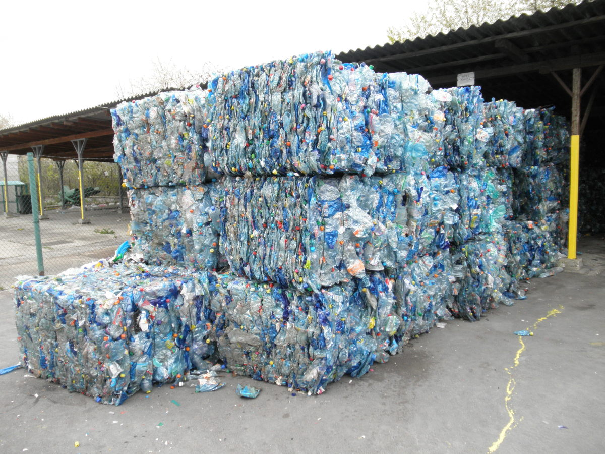 PET bottles being recycled