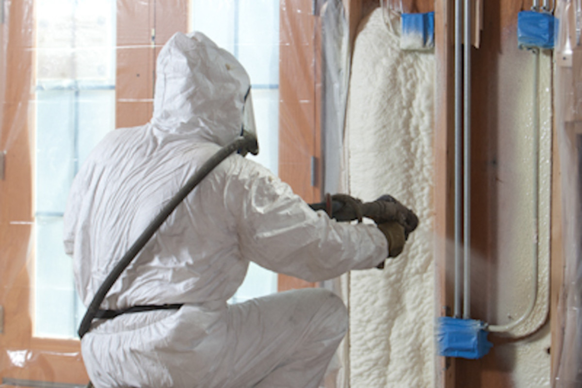 Polyurethane spray foam being applied for insulation