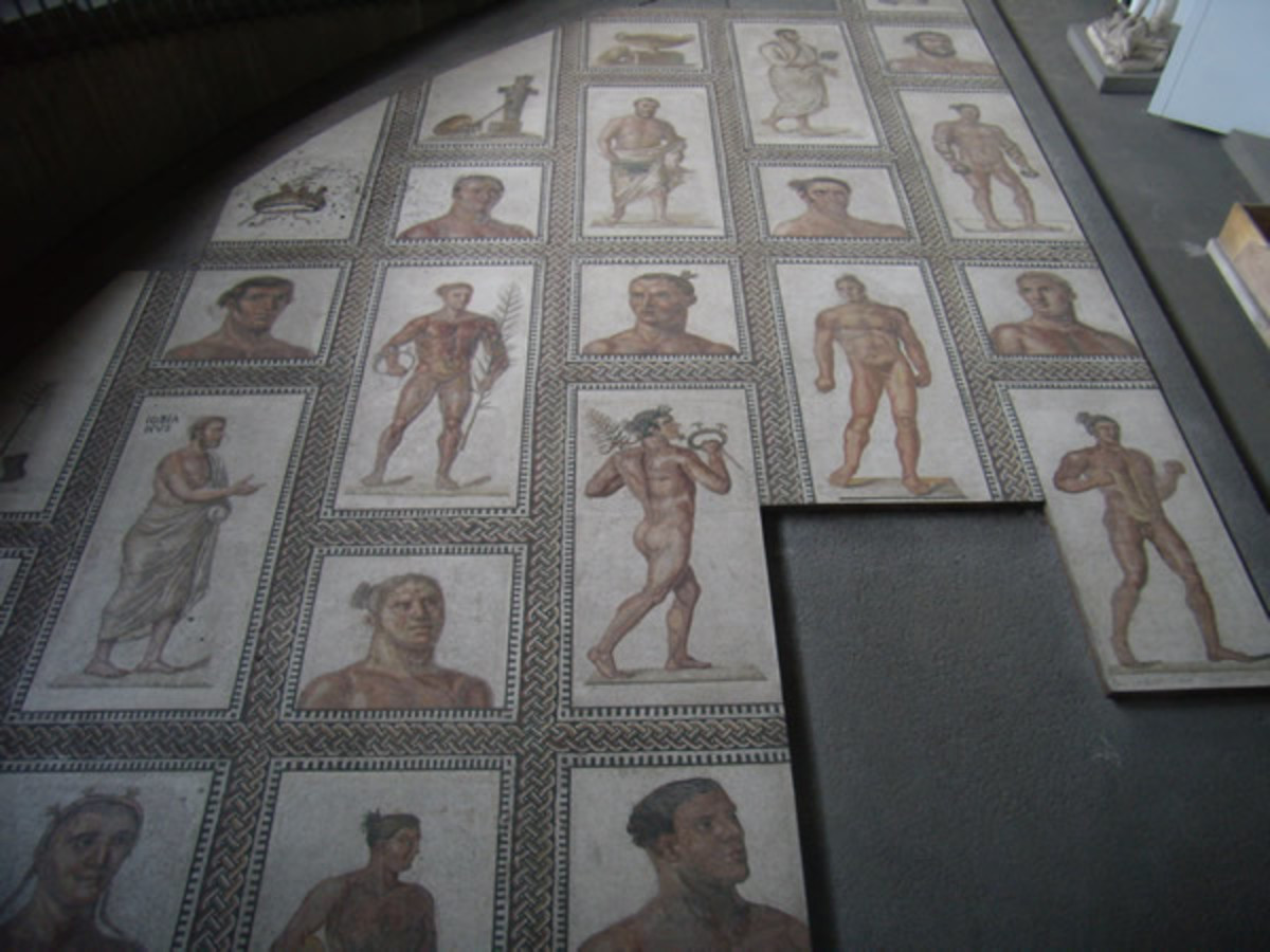 Mosaics portraying athletes from Baths of Caracalla