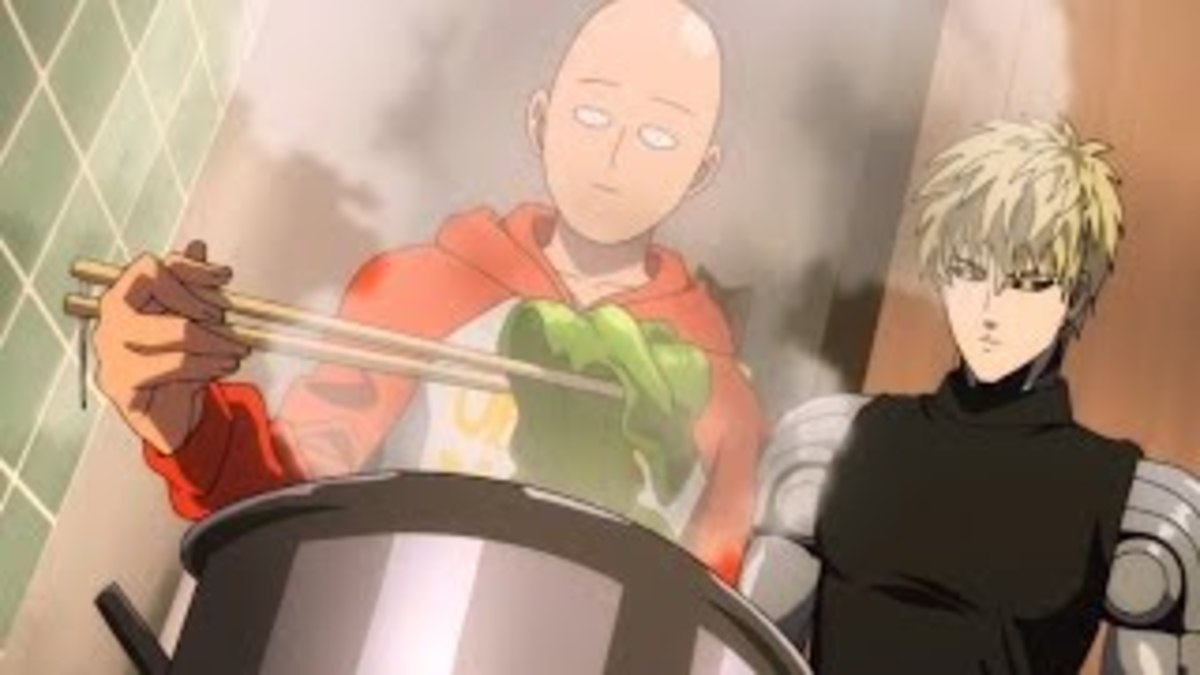 Saitama cooking with Genos.